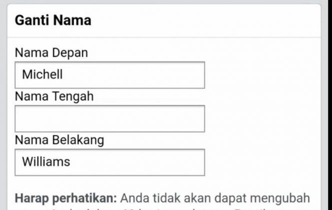 Poner solo el nombre, sin el apellido, en Facebook: captura de pantalla de Facebook