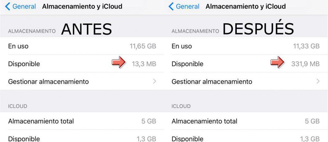 Liberar espacio en tu iPhone con iTunes - Antes y después