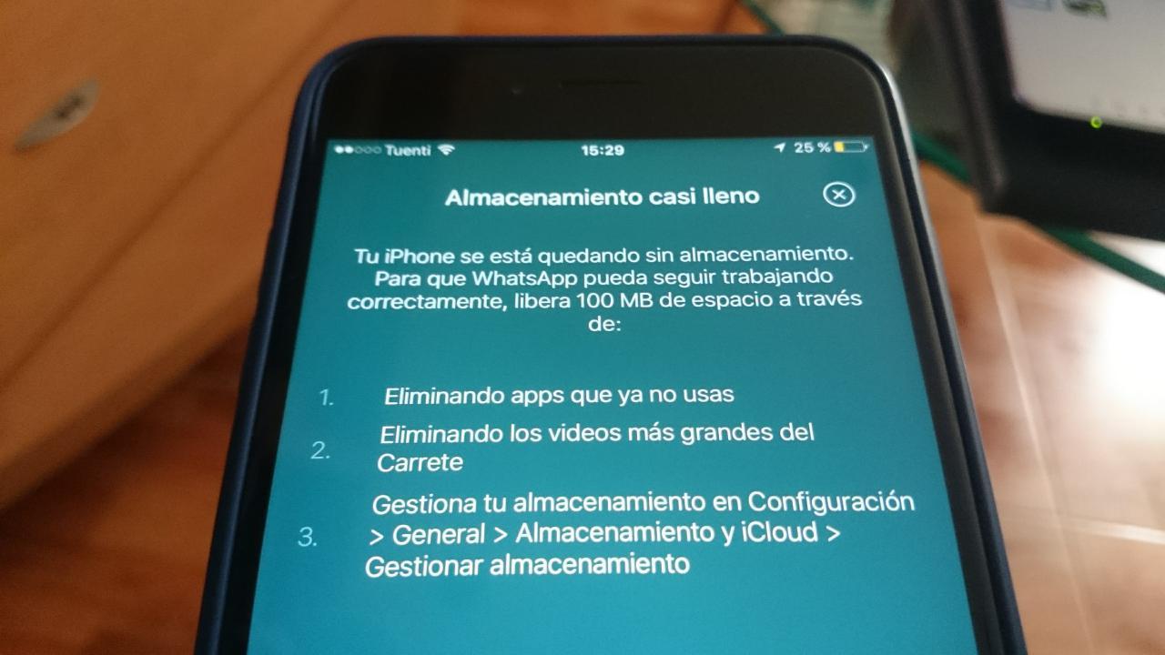 Liberar espacio en tu iPhone con iTunes - Notificación almacenamiento casi lleno