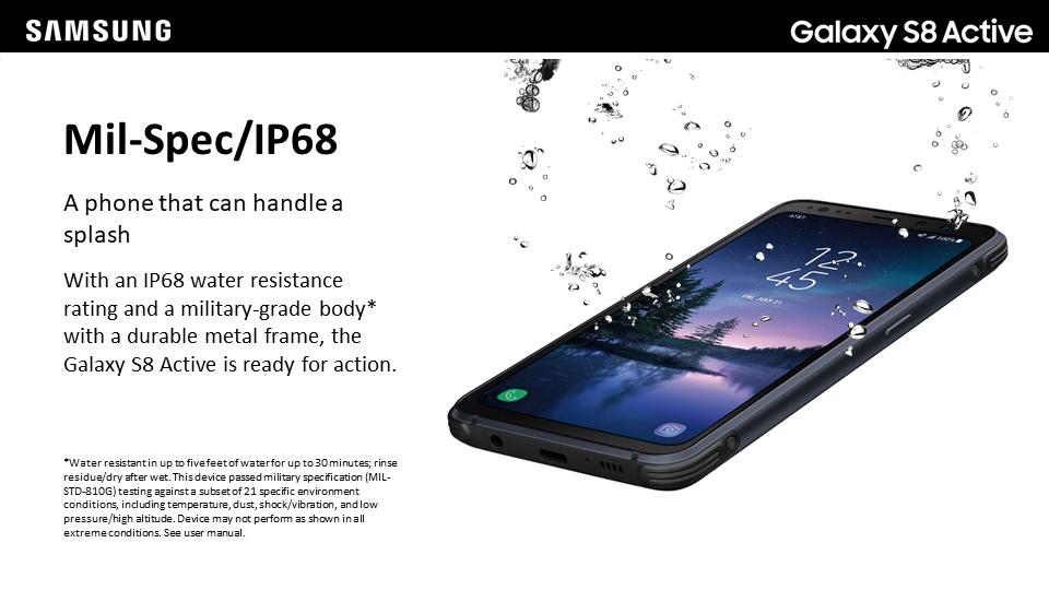 Samsung Galaxy S8 Active: Resistencia al agua