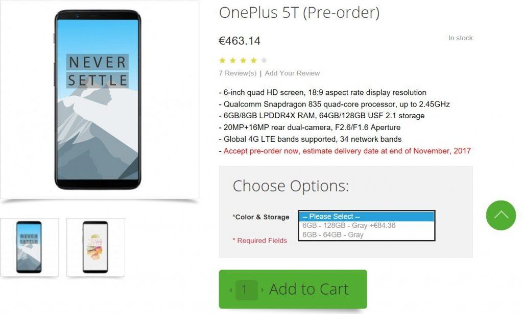 OnePlus 5T características