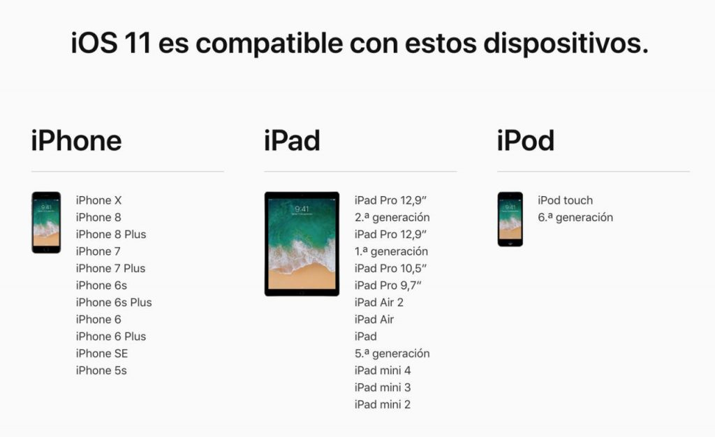 iOS 11 en un iPhone 6s: dispositivos compatibles con iOS 11